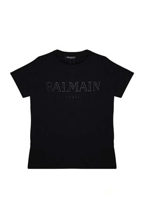 BLACK T-SHIRT WITH WHITE BALMAIN KIDS LOGO BALMAIN KIDS | 8 | 6K8511KA050930AG
